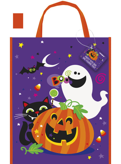 Boodschappentas met leuke pompoen, kat en spook - Happy Halloween