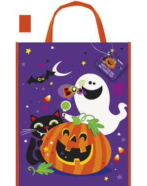 Veske med morsomt gresskar, katt og spøkelse - Happy Halloween