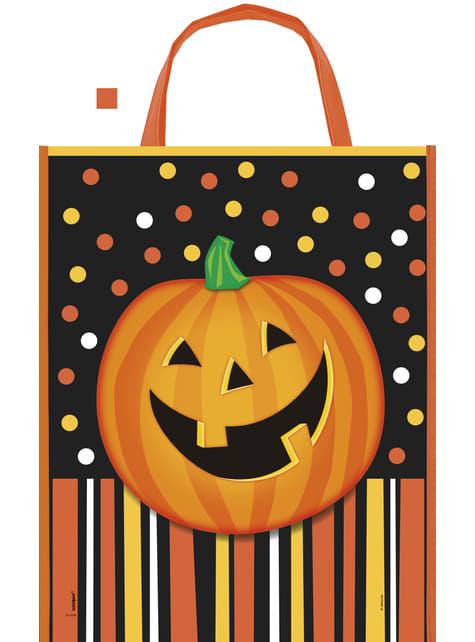Sac citrouille souriante à pois et rayures - Smiling Pumpkin