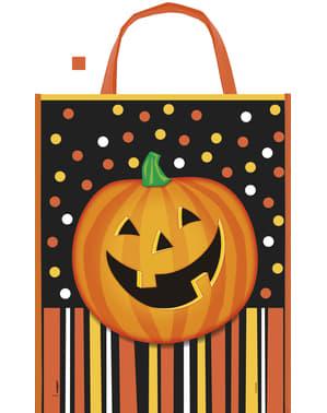 Taske med smilende græskar, polka prikker og striber - Smiling Pumpkin