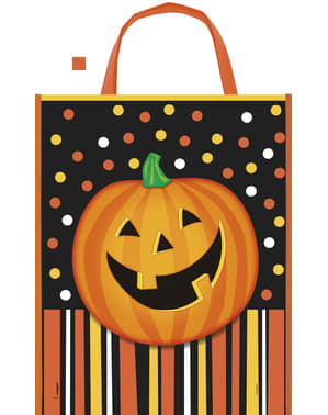 Tote bag with smiling pumpkin, polka dots and stripes - Smiling Pumpkin