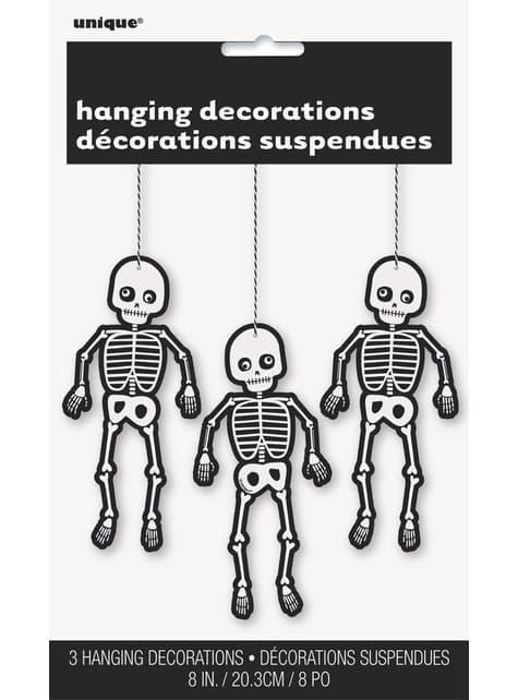 3 esqueletos de pendurar - Skeleton Trick or Treat