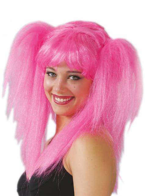 Różowa peruka z kucykami