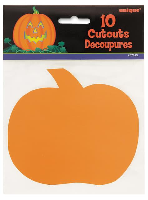 Conjunto de 10 silhuetas decorativas de abóboras - Basic Halloween