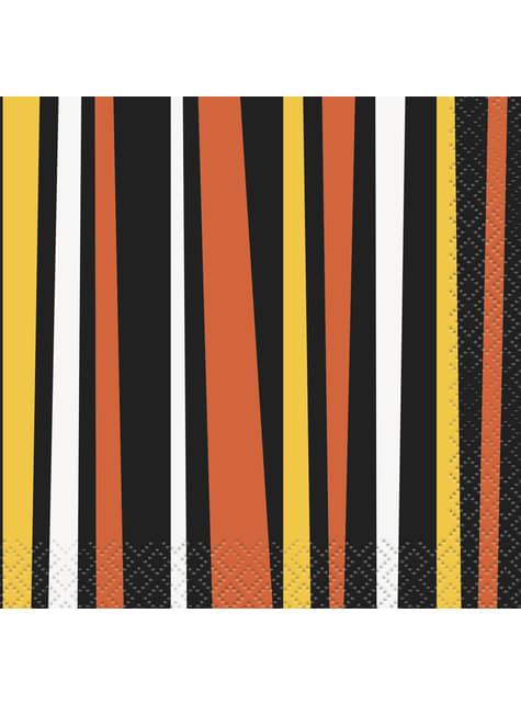 Sæt af 16 orange og sorte stribede servietter - Smiling Pumpkin