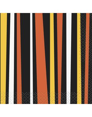 Sett med 16 oransje og svart stripete servietter - Smilende Gresskar