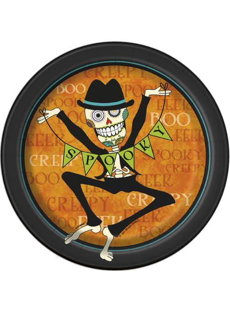 Set de 8 platos redondos de postre de esqueleto del día de los muertos - Day of the Dead