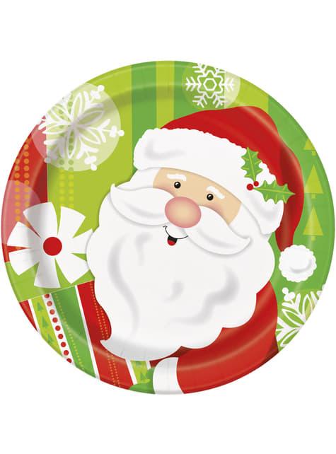 8 platos redondos pequeños de Papá Noel (18 cm) - Happy Santa