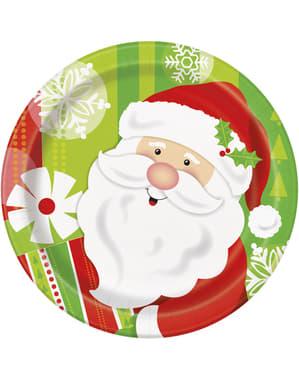Sett med 8 rund dessert tallerken med Julenisse - Happy Nisse