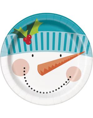 Sett med 8 runde snømann dessert tallerkener - Glad Nisse