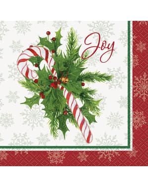 16 servilletas de cóctel de caramelo navideño (13x13 cm) - Candy Cane Christmas