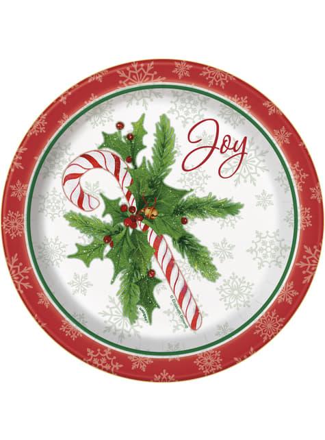 8 platos redondos pequeños de caramelo navideño (18 cm) - Candy Cane Christmas