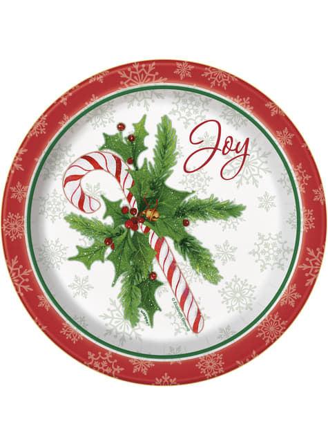 8 pyöreää jälkiruokalautasta candy canella - Candy Cane Christmas