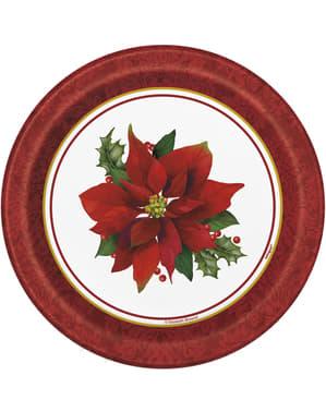 Sada 8 kulatých dezertních talířů s elegantní vánoční hvězdou - Holly Poinsettia