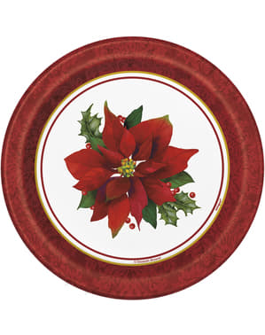 8 round dessert plates with elegant poinsetti (18 cm) - Holly Poinsettia