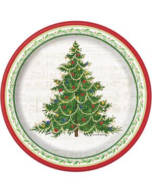 8 farfurii rotunde pentru desert cu brad de Crăciun (18 cm) - Classic Christmas Tree