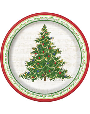8 round dessert plates with Christmas tre (18 cm) - Classic Christmas Tree