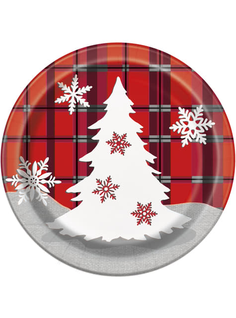 8 round dessert plates with Christmas tree and rustic plaid - Rustic Plaid Christmas