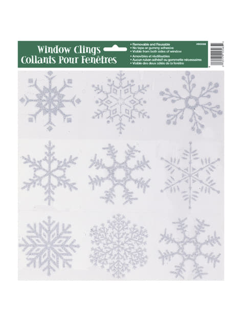 Autocolantes para janela copos de neve - Silver Snowflake Christmas