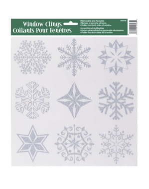 Ozdoby na szyby w kształcie śnieżynek - Silver Snowflake Christmas