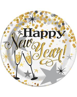 Zestaw 8 Sylwestrowych talerzy deserowych - Glittering New Year