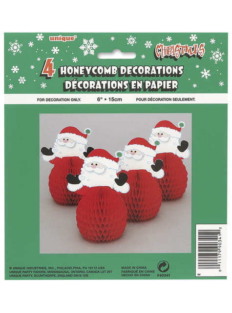4 mini Santa Claus honeycomb decorations - Basic Christmas