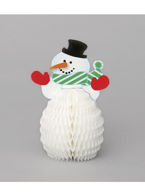 4 mini décos en nid d'abeille bonhomme de neige - Basic Christmas