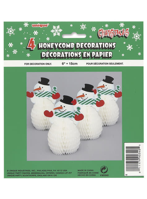 4 mini snowman honeycomb decorations - Basic Christmas
