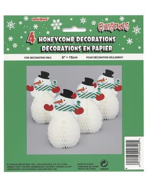 Комплект от 4 мини снежни декорации - Основна Коледа