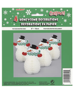 4 mini sneeuwpop honingraat decoraties - Basic Christmas