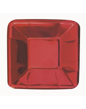 Sett med 8 firkantet rød brett - Solid Farge Servise