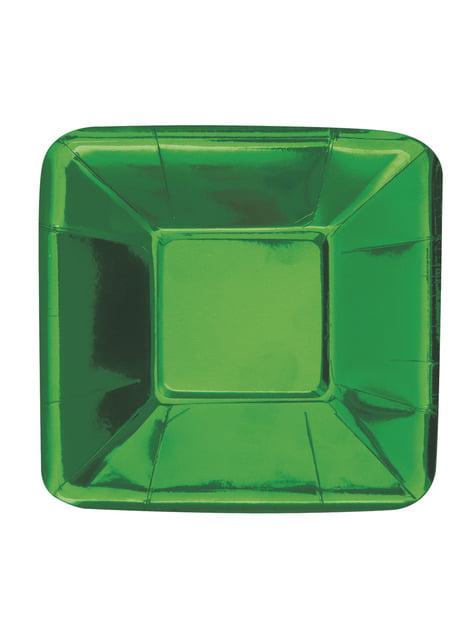 8 bandejas cuadradas verdes - Solid Colour Tableware