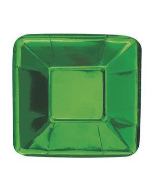 Sett med 8 firkantet grønn brett - Solid Farge Servise