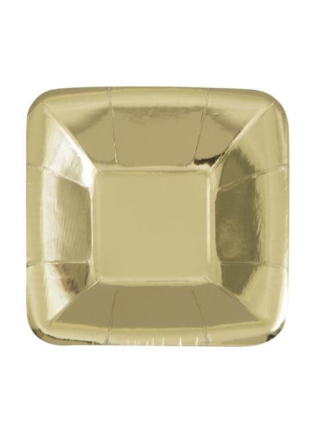 סט של 8 מגשי זהב מרובע - Solid צבע כלי שולחן