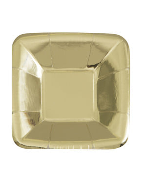 8 square gold trays - Solid Colour Tableware