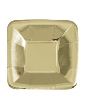 Zestaw 8 kwadratowych złotych tacek - Solid Colour Tableware