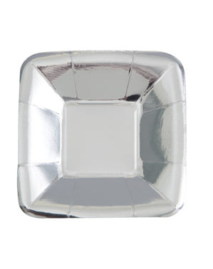 8 square silver trays - Solid Colour Tableware