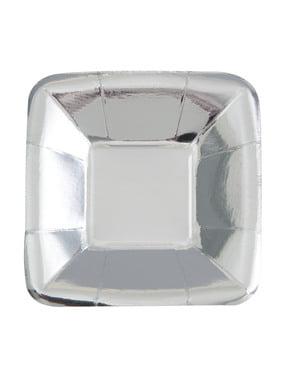 Zestaw 8 kwadratowych srebrnych tacek - Solid Colour Tableware