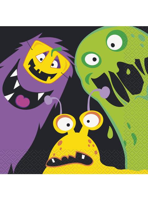 16 Serviettes en papier monstres enfants (33x33 cm) - Silly Halloween Monsters