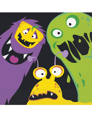 Sett med 16 servietter med barne monster - Silly Halloween Monsters