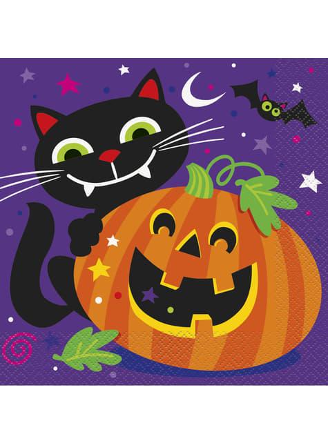 16 serviettes drôle citrouille et petit chat - Happy Halloween
