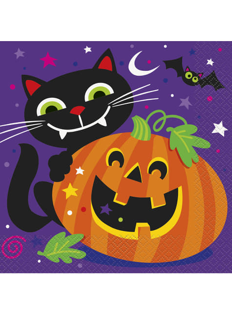 Set of 16 napkins with fun pumpkin and cat - Happy Halloween