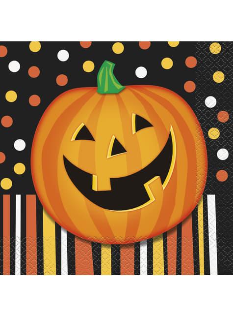 Set de 16 servilletas de calabaza sonriente con lunares y rayas - Smiling Pumpkin
