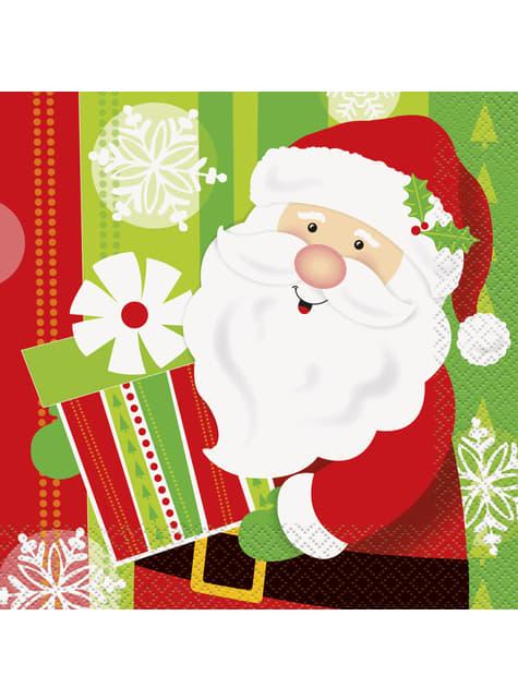 16 servilletas de Papá Noel (33x33 cm) - Happy Santa