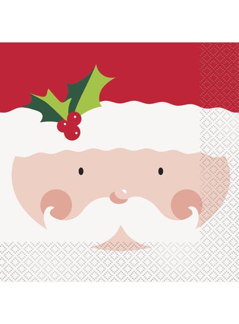 16 servilletas de Papá Noel (33x33 cm) - Holly Santa