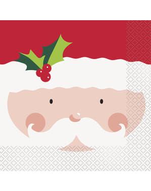 Zestaw 16 serwetek ze świętym Mikołajem - Holly Santa