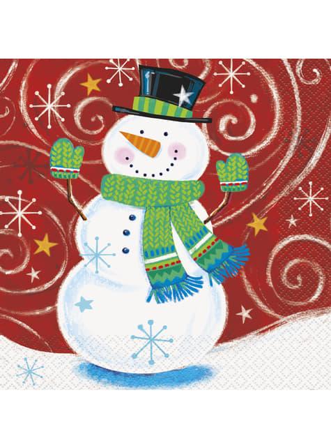 16 servilletas de muñeco de nieve (33x33 cm) - Snowman Swirl