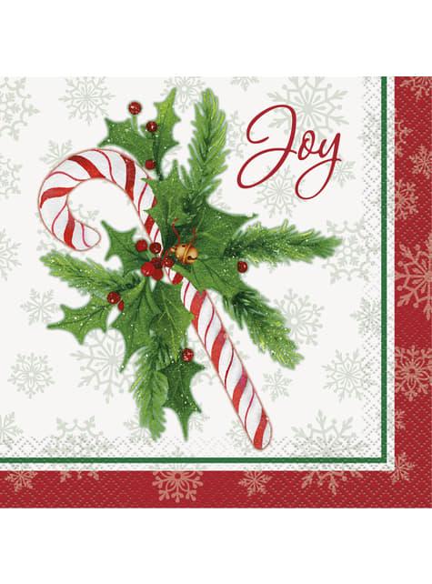 16 servilletas de caramelo navideño (33x33 cm) - Candy Cane Christmas