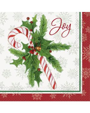 16 guardanapos de caramelo natalíci (33x33 cm) - Candy Cane Christmas