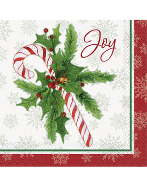 16 napkins with candy can (33x33 cm) - Candy Cane Christmas